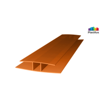 Профиль для поликарбоната ROYALPLAST HP соединительный янтарь 4мм 6000мм