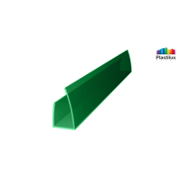 Профиль для поликарбоната ROYALPLAST UP торцевой зелёный 10мм 2100мм