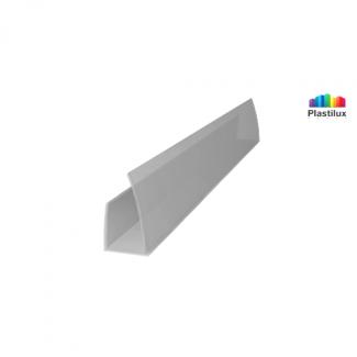 Профиль для поликарбоната ROYALPLAST UP торцевой серебро 8мм 2100мм